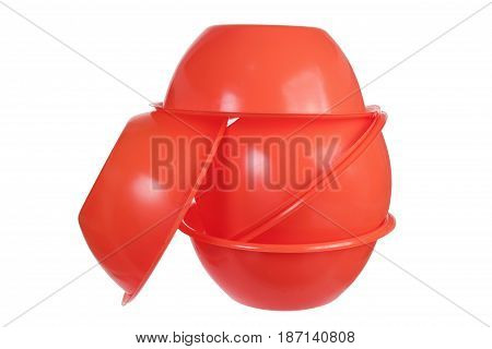 Stack of Plastic Bowls on White Background
