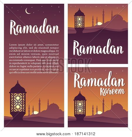 Set horizontal, vertical, square posters Ramadan kareem lettering with lamp, minarets, crescent and star in night sky. Vintage hand drawn illustration for poster, banner.