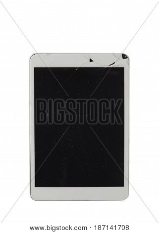 Broken tablet screen black white clipping path