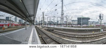 Panoramic View To Frankfurt Train Station From The End Of The Platform