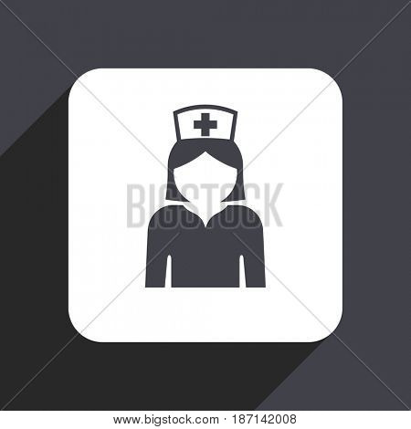 Nurse flat design web icon isolated on gray background