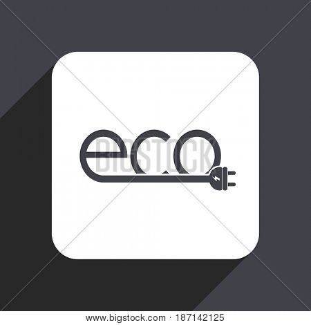 Eco electric plug flat design web icon isolated on gray background