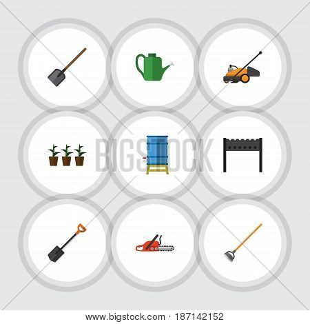 Flat Garden Set Of Lawn Mower, Flowerpot, Container And Other Vector Objects. Also Includes Shovel, Lawn, Container Elements.
