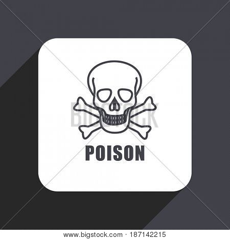 Poison skull flat design web icon isolated on gray background
