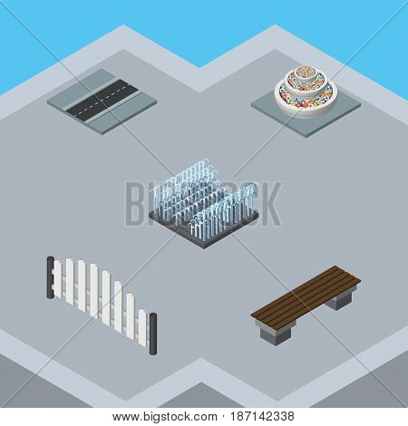 Isometric Street Set Of Plants, Bench, Barricade And Other Vector Objects. Also Includes Bench, Path, Way Elements.
