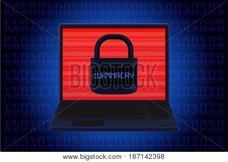 Laptop showing master key icon on screen over blue background in computer code theme. Illustration about ransomware called WannaCry.