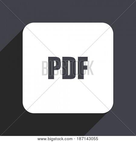 Pdf flat design web icon isolated on gray background