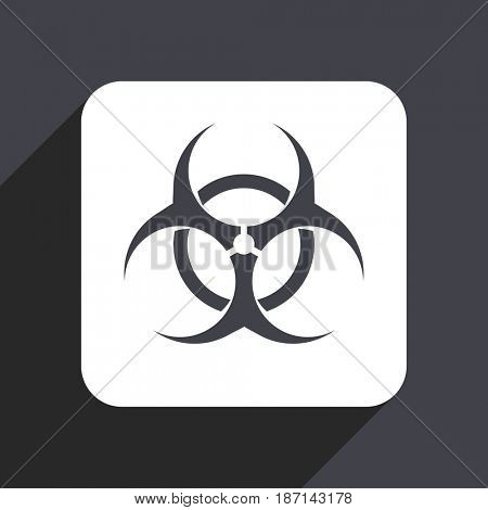 Biohazard flat design web icon isolated on gray background