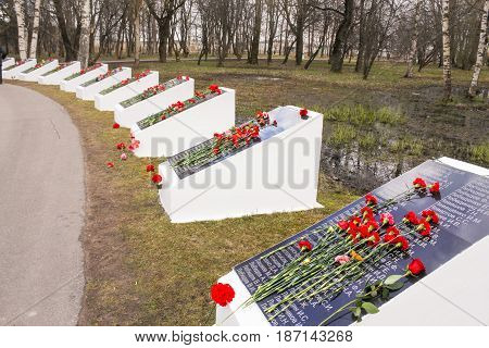 Kirishi, Russia - 9 May, Memorable plates on Victory Day, 9 May, 2017. Laying wreaths and flowers in memory of the fallen at the Eternal Flame.