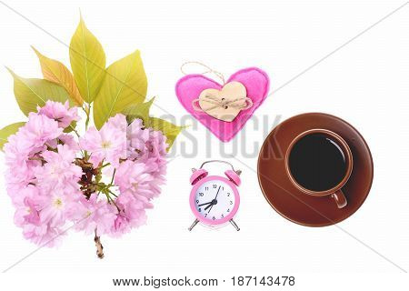 Bunch Of Sakura Flowers, Pink Heart, Alarm Clock And Coffee