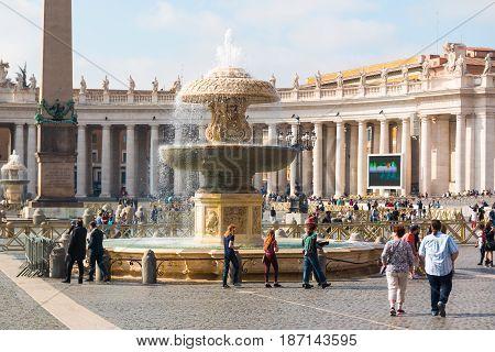 VATICANO, ROME, ITALY - 13.04.2017: Square of Basilica di San Pietro Vatican Rome Italy