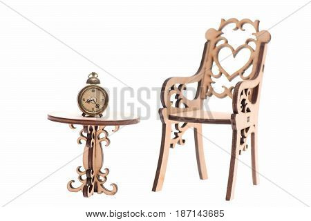 Alarm Vintage Clock On Decorative Wooden Table