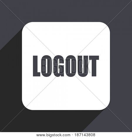 Logout flat design web icon isolated on gray background