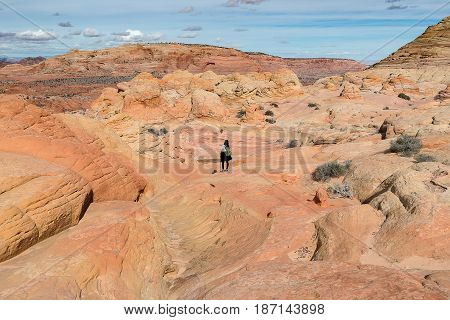 Girl Standing On The Top Of Rock Desert, Way To The Wave