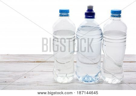 Bottles of Water  on a Black Background