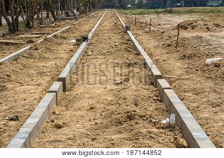 New land subdivision with work on roads and footpaths