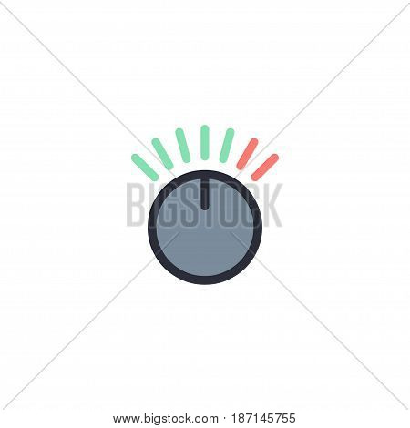 Flat Volume Control Element. Vector Illustration Of Flat Knob Isolated On Clean Background. Can Be Used As Volume, Control And Knob Symbols.