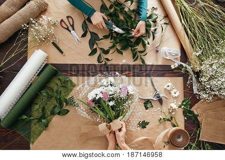 Florist Creating Flower Display