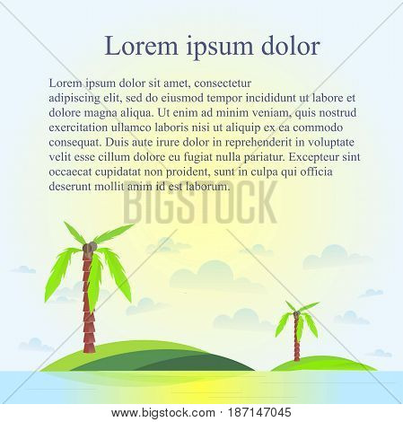 Blue background, green palms on islands bellow, Lorem ipsum, stock vector illustration