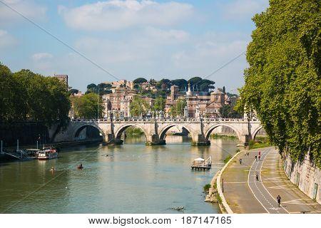 Ponte Vittorio Emanuele II is a bridge across the Tiber in Rome Italy