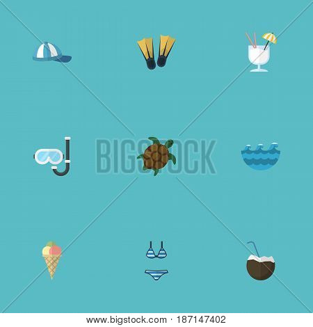 Flat Cocos, Sea, Aqualung And Other Vector Elements. Set Of Sunlight Flat Symbols Also Includes Drink, Waves, Cap Objects.