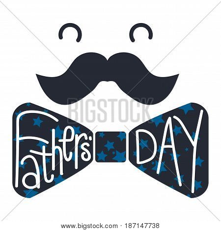 Fathers Day Lettering Inscribed Into Butterfly Tie. Vector
