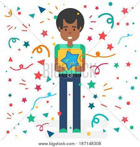 Happy Fathers Day concept with happy afroamerican father. Vector