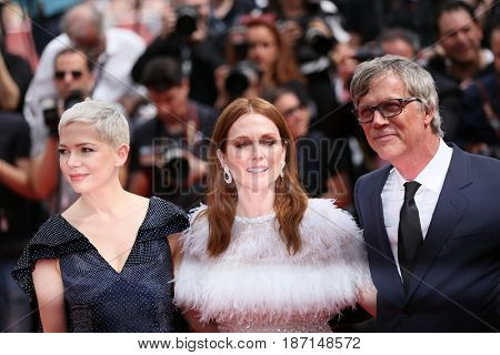 Todd Haynes, Michelle Williams, Julianne Moore attend the 'Wonderstruck ' screening during the 70th annual Cannes Film Festival at Palais des Festivals on May 18, 2017 in Cannes, France.