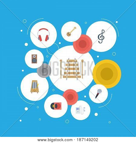 Flat Mp3 Player, Musical Instrument, Earphone And Other Vector Elements. Set Of Music Flat Symbols Also Includes Percussion, Instrument, Box Objects.