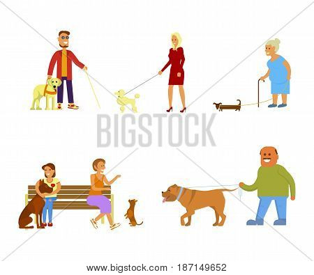 People walking with different breeds of dogs set. Isolated on white background vector illustration eps 10