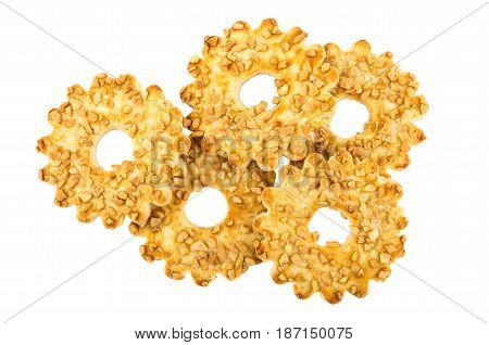 Shortbread Rings With Nuts Isolated On White