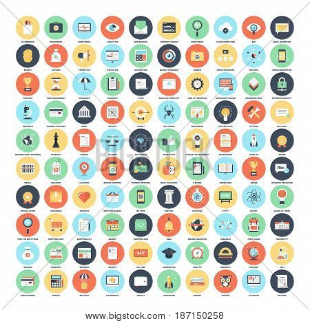 Vector set of 150 flat web icons on following themes - SEO and development, business and finance, shopping and commerce, education and knowledge