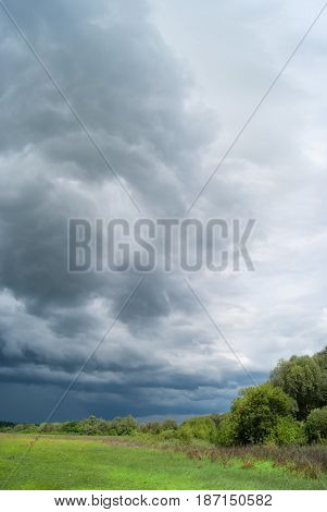 Strong Storm Clouds Over The Valley