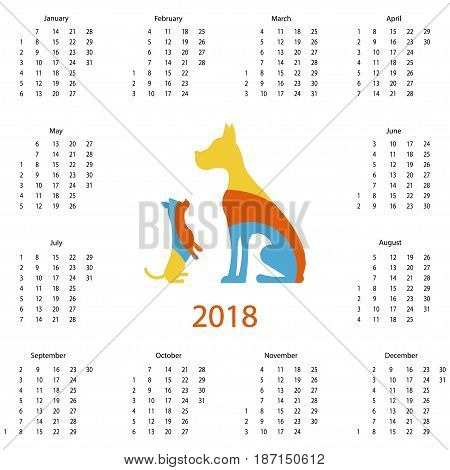 Calendar 2018 with dog logo in flat style. Isolated vector illustration eps 10.