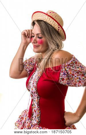 Blonde Brazilian girl wearing traditional costume for Junina Party