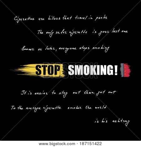 World No Tobacco Day. No Smoking inscription on cigarette. Lettering quotes about the dangers of smoking. Vector illustration eps 10