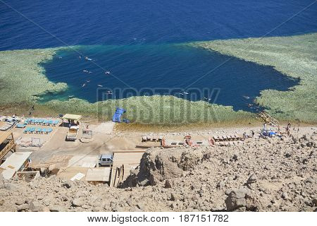 Egypt. Red sea. Dahab. The wonder of the world is a blue hole in a coral reef. The date of the filming: 2008-06-13 14:53:50.
