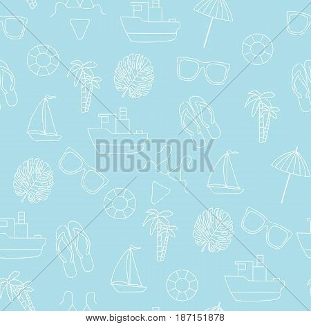 Seamless pattern. Summer and sea. A vector picture a white kontrur on a blue background.
