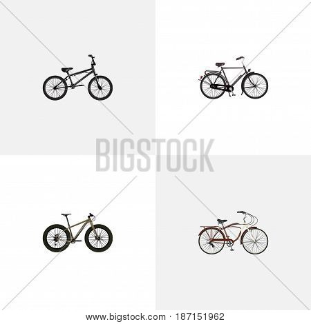 Realistic Training Vehicle, Bmx, Journey Bike And Other Vector Elements. Set Of Bike Realistic Symbols Also Includes Velocipede, Dutch, Bmx Objects.