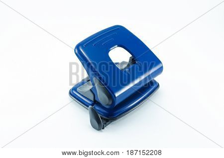 Hole puncher isolated on white background. Office accesories.