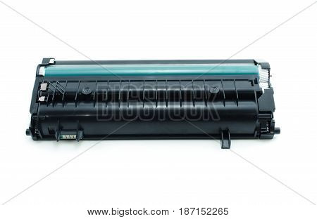 Laser printer cartridge isolated on white background.