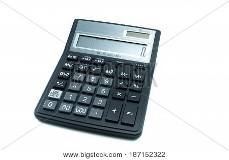 Calculator isolated on white background. Black calculator.