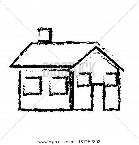 sketch house home real state architecture vector illustration