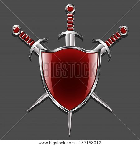 Shield with swords. Metal shield and three swords. Red field and finishing pens. Medieval weapons and armory. Gray background. Vector illustration.