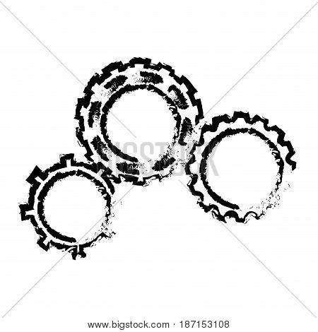 sketch gears team work wheel cooperation vector illustration