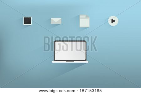 Laptop Icons with media and data file.