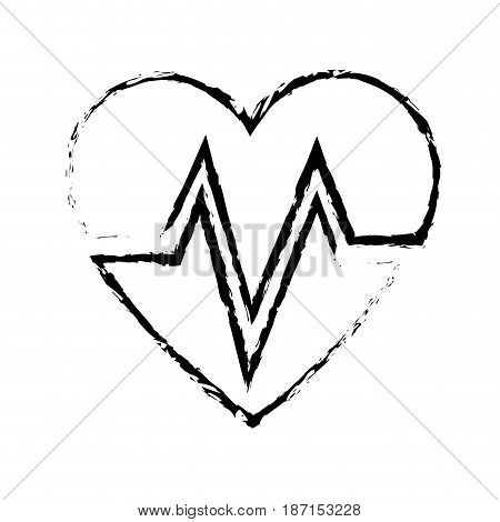 heart beat healthy medicinal cardiology symbol sketch vector illustration