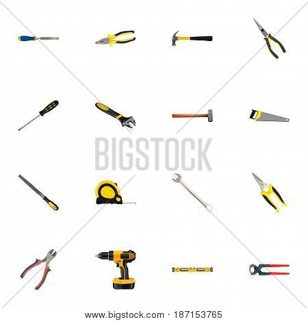 Realistic Spanner, Claw, Carpenter And Other Vector Elements. Set Of Kit Realistic Symbols Also Includes Pliers, Noise, Sledgehammer Objects.