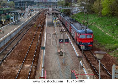 MOSCOW, RUSSIA - MAY 01, 2017: Train Railways on the platform. Russian Railways(RZD). Suburban railway