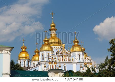 Golden domes of St. Michael's Cathedral. Kiev Ukraine